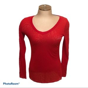 Sheer Long Sleeve Red Knit Top Size Large